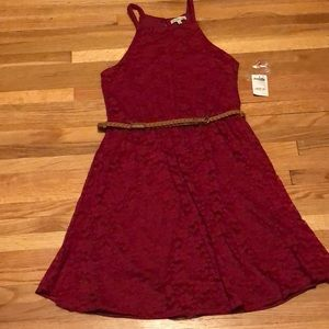 Charlotte Russe burgundy lace dress with belt